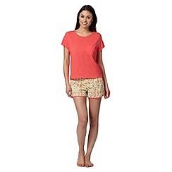 Floozie by Frost French - Dark peach tee and floral shorts pyjama set