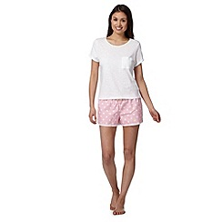 Floozie by Frost French - White tee and spotted shorts pyjama set