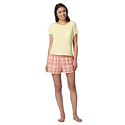 Floozie by Frost French - Yellow tee and checked shorts pyjama set