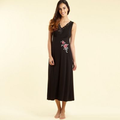 Black Embroidered Lace Trim Nightdress