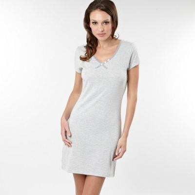 Grey Striped Short Sleeve Nightdress