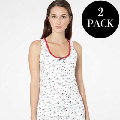 Pack Of Two Red And Cream Pyjama Vest Tops