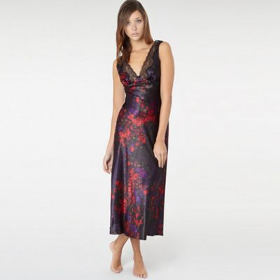 Black Printed Satin Nightdress