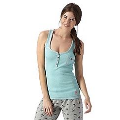 Iris & Edie - Aqua ribbed Y neck pyjama vest