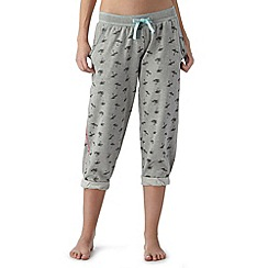 Iris & Edie - Light grey palm print cropped joggers