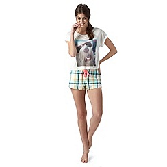 Iris & Edie - White dog print t-shirt and checked shorts pyjama set