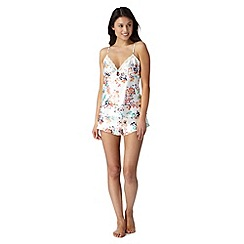 Presence - Cream floral print cami and shorts pyjama set