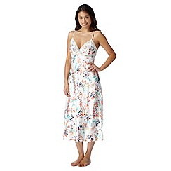 Presence - Cream strappy floral print long nightdress
