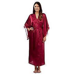 Presence - Dark red lace trimmed long kimono