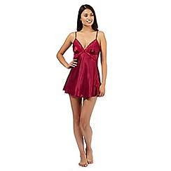 Presence - Dark red lace detail babydoll and briefs set