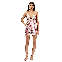 Presence - Dark red floral camisole and shorts set