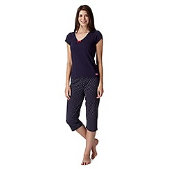 Lounge & Sleep - Navy spotted crop pyjama set