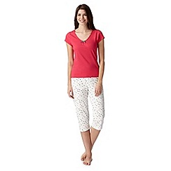 Lounge & Sleep - Red spotted bow top and cropped trousers pyjama set