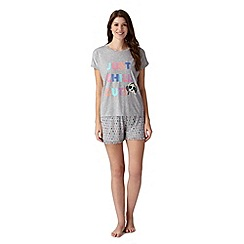 Lounge & Sleep - Grey puppy print t-shirt and shorts pyjama set