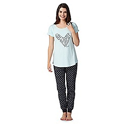 Lounge & Sleep - Blue spotted heart pyjama top and bottoms set