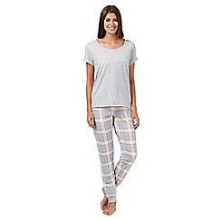 Lounge & Sleep - Grey checked short sleeved pyjama top and bottoms set