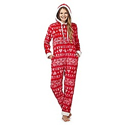 Lounge & Sleep - Petite red Fair Isle onesie