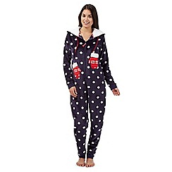 Lounge & Sleep - Navy fleece spotted mittens onesie