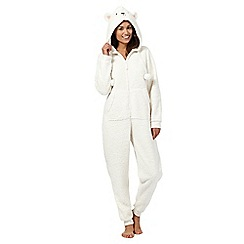 Lounge & Sleep - Cream fleece sheep onesie