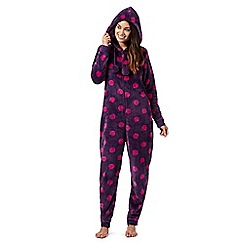 Lounge & Sleep - Petite purple big polka dot hooded onesie