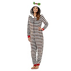 Lounge & Sleep - Brown fleece Christmas pudding onesie