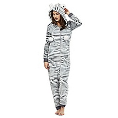 Lounge & Sleep - Grey zebra onesie