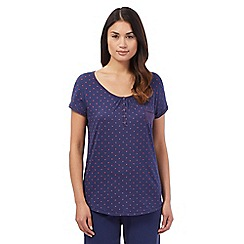 Lounge & Sleep - Tall navy star print pyjama top