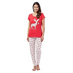 Lounge & Sleep - Red stag top and bottoms pyjama set