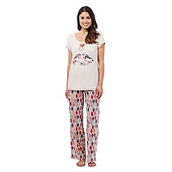 Lounge & Sleep - Natural robin top and bottoms pyjama set
