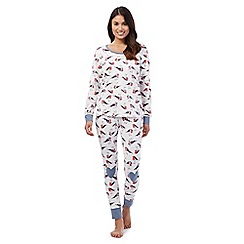 Lounge & Sleep - Blue robin top and bottoms pyjama set