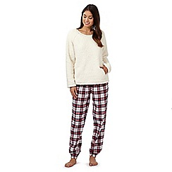 Lounge & Sleep - Cream fleece top and checked bottoms pyjama set