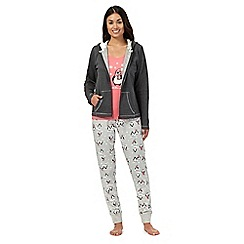 Lounge & Sleep - Grey penguin jumper, top and bottoms pyjama set