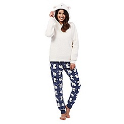 Lounge & Sleep - Cream polar bear pyjama set