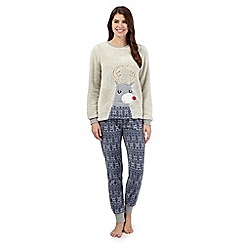 Lounge & Sleep - Grey reindeer pyjama jumper, bottoms and face mask set
