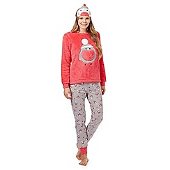 Lounge & Sleep - Pink robin three piece pyjama set