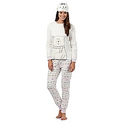 Lounge & Sleep - Cream polar bear fleece pyjama set with eye mask
