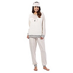 Lounge & Sleep - Light pink fox eye mask and pyjama set