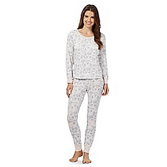 Lounge & Sleep - Grey fox print top and bottoms pyjama set