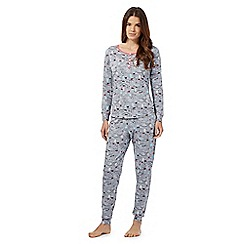 Lounge & Sleep - Petite grey party penguin top and bottoms pyjama set