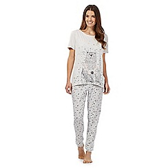 Lounge & Sleep - Grey glitter bear top and bottoms pyjama set