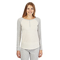 Lounge & Sleep - Petite grey and cream spotted long sleeved pyjama top