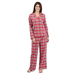 Lounge & Sleep - Red checked pyjama shirt and bottoms set
