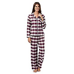Lounge & Sleep - Cream checked flannel pyjama set