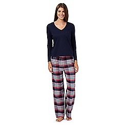 Lounge & Sleep - Navy long sleeved top and checked pyjama set