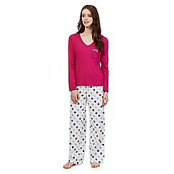 Lounge & Sleep - Pink spotted top and bottoms pyjama set
