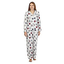 Lounge & Sleep - White polar bear print flannel pyjamas set