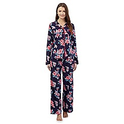 Lounge & Sleep - Navy floral pyjama top and bottoms set
