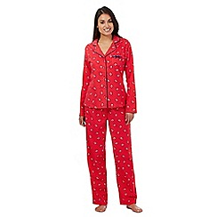 Lounge & Sleep - Red robin print flannel pyjamas