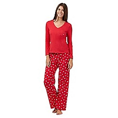 Lounge & Sleep - Red long sleeved top and polka dot pyjama set