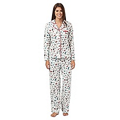 Lounge & Sleep - Cream winter animal print flannel pyjama set